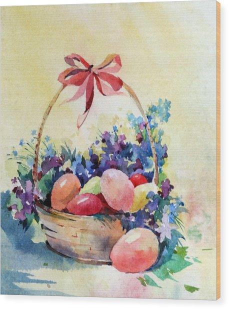 Happy Easter Wood Print by Natalia Eremeyeva Duarte