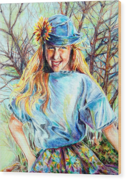 Happy Girl Wood Print