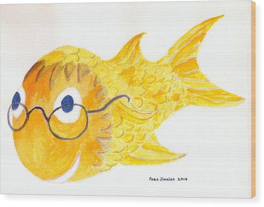Happy Golden Fish Wood Print