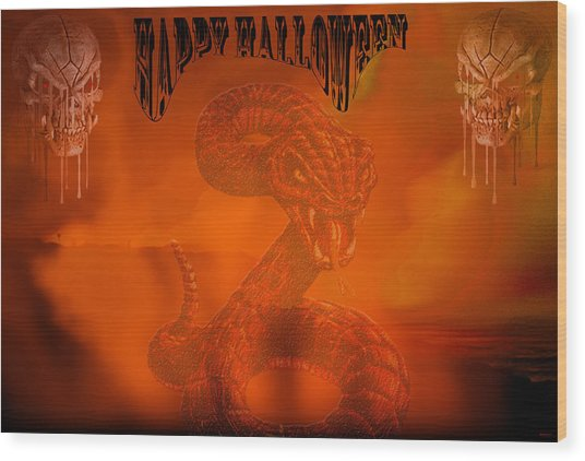 Happy Halloween 2 Wood Print by Evelyn Patrick