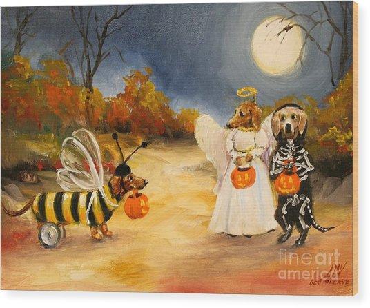 Happy Halloweenies Dachshund Art Wood Print by Stella Violano
