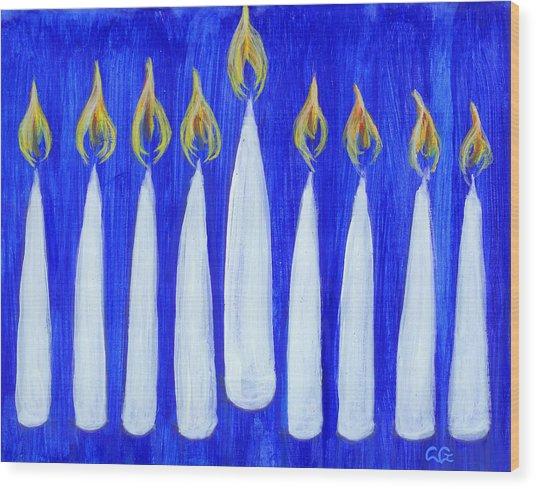 Happy Hanukkah Wood Print by BlondeRoots Productions