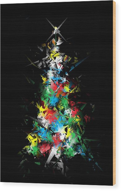 Happy Holidays - Abstract Tree - Vertical Wood Print