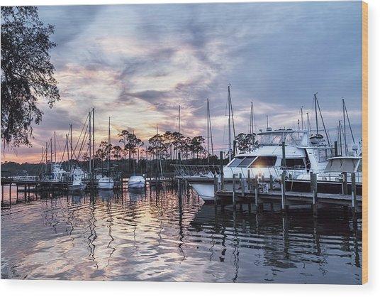 Happy Hour Sunset At Bluewater Bay Marina, Florida Wood Print