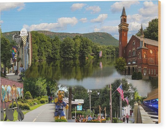 Happy In Easthampton Collage Wood Print