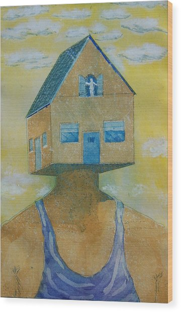 'happy Is The House' Wood Print