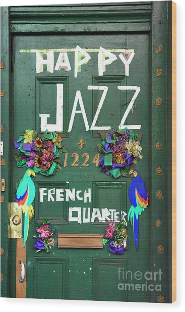 Happy Jazz French Quarter Wood Print