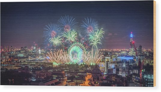 Happy New Year London Wood Print