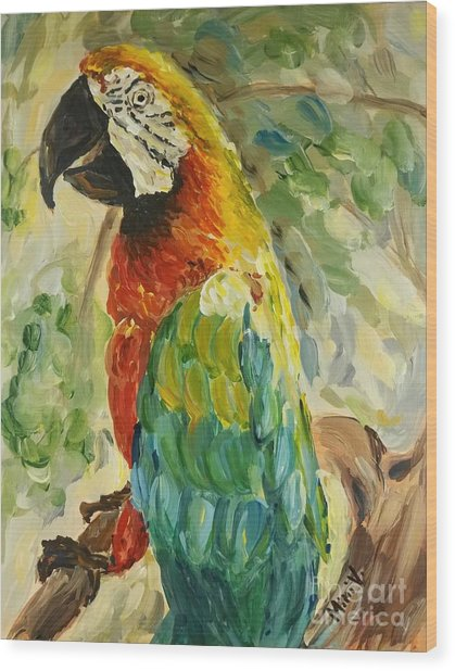 Happy Parrot Wood Print