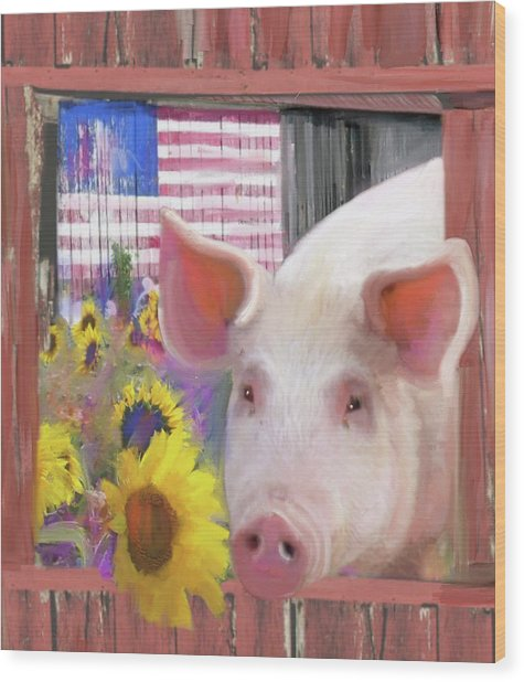 Happy Pig  Wood Print
