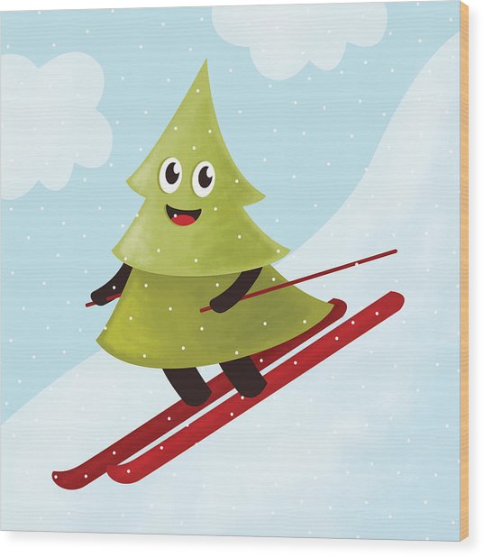 Happy Pine Tree On Ski Wood Print