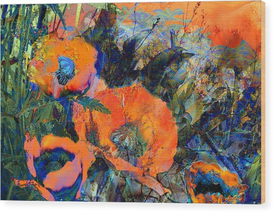 Happy Poppies Wood Print by Anne Weirich