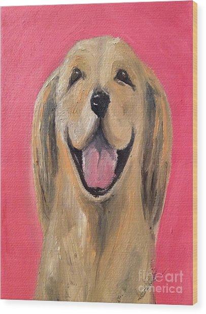 Happy Pup Wood Print