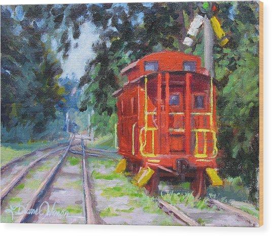 Happy Rails Wood Print by L Diane Johnson