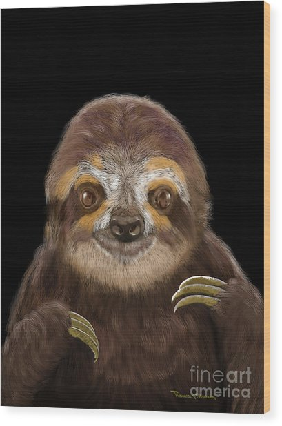 Happy Three Toe Sloth Wood Print