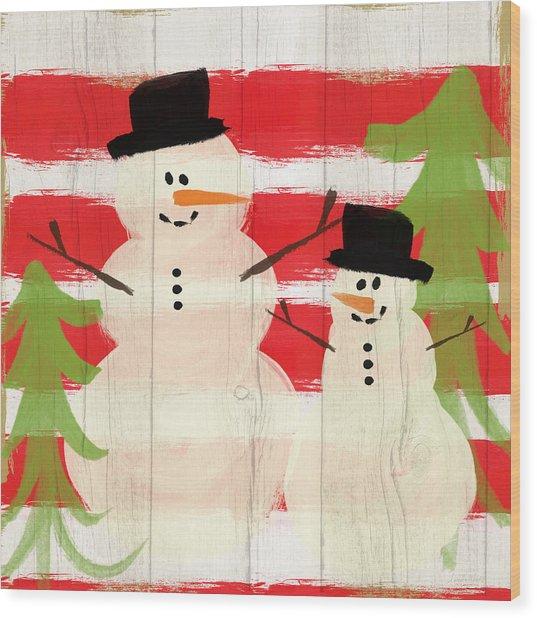 Happy Snowmen- Art By Linda Woods Wood Print