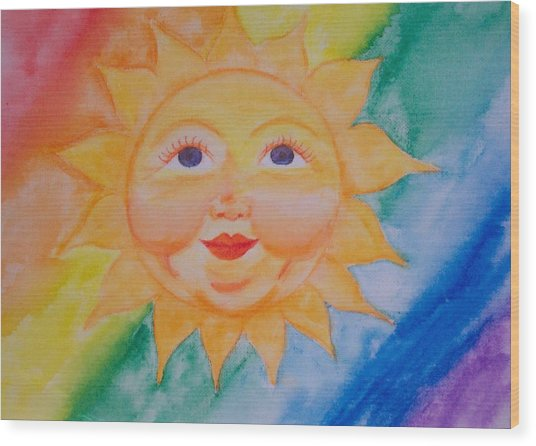 Happy Sun Wood Print by Jennifer Hernandez