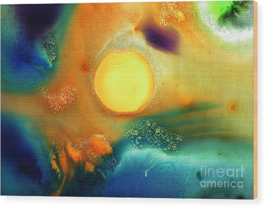 Happy Sunrise Fluid Abstract Art Liquid Painting By Kredart Wood Print