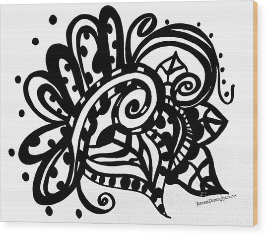 Happy Swirl Doodle Wood Print