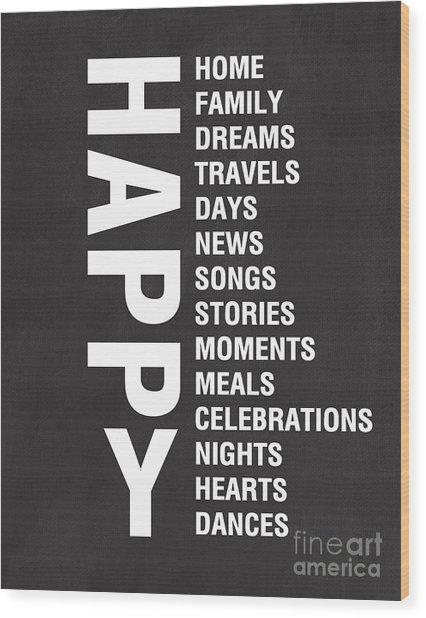 Happy Things Wood Print