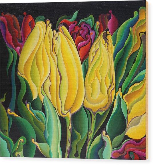 Happy-time Yellow Three-lips Wood Print