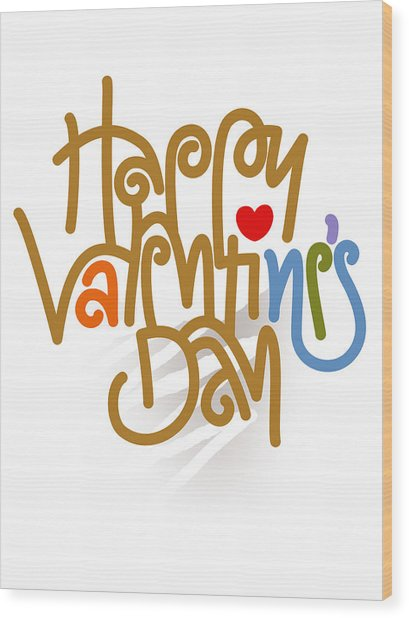 Happy Valentine's Day Poster Wood Print