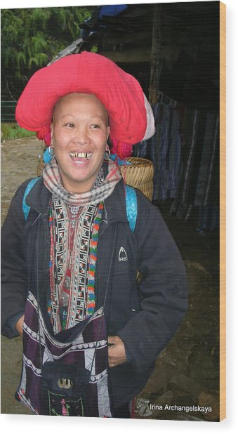 Happy Woman From Sa Pa North Vietnam Wood Print