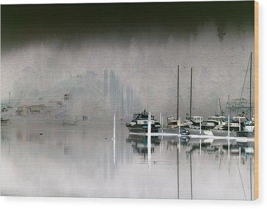 Harbor And Boats Wood Print