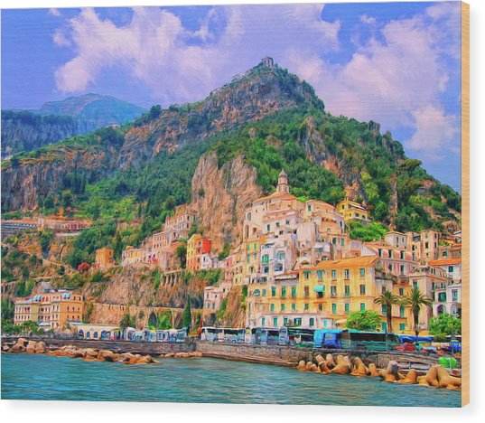 Harbor At Amalfi Wood Print
