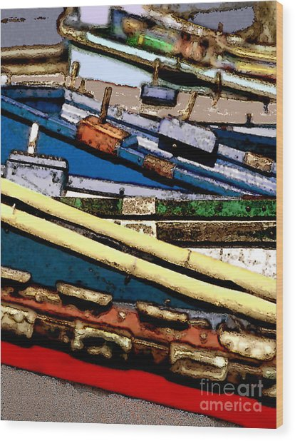Harbor Boats In Abstract Wood Print by Linda  Parker