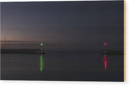 Harbor Evening Wood Print by Kim Lessel