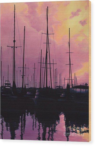 Harbor Glow Wood Print