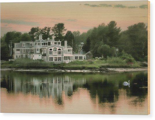 Maine's Harbor Home Wood Print