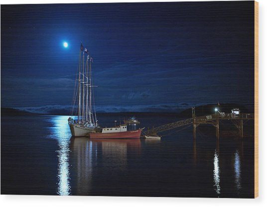 Harbor Moon Wood Print