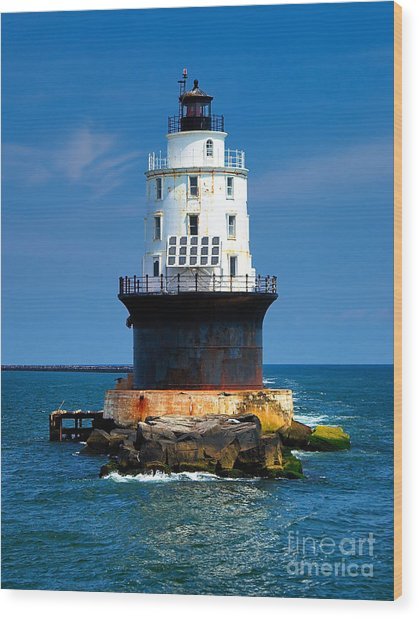 Harbor Of Refuge Lighthouse Wood Print