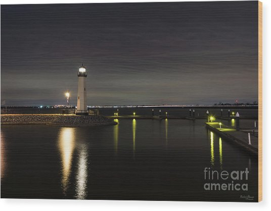 Harbor Rockwall Lighthouse Wood Print