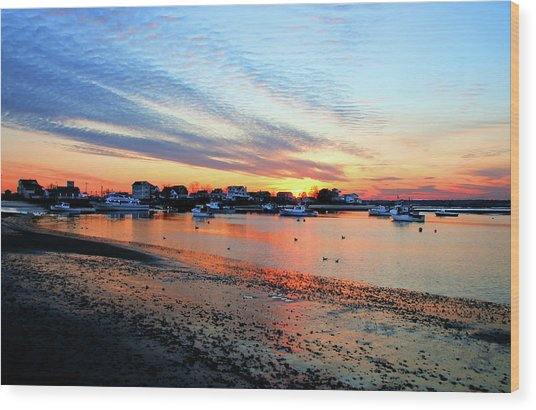 Harbor Sunset At Low Tide Wood Print