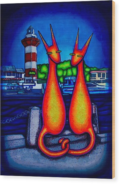 Harbor Town Kats Wood Print