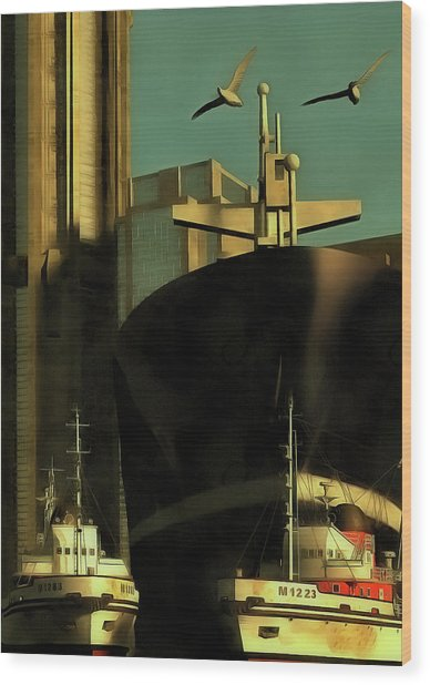 Harbor With Towboats Wood Print