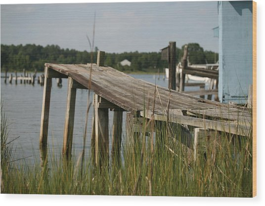 Harborton Dock Wood Print by Karen Fowler