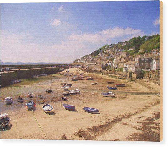 Harbour At Low Tide - Mousehole Wood Print