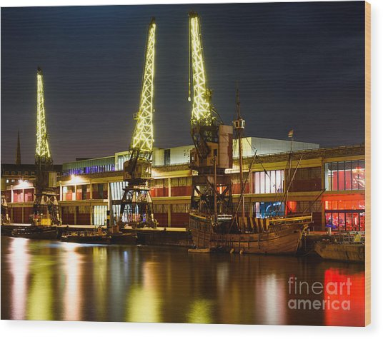 Harbour Cranes Wood Print