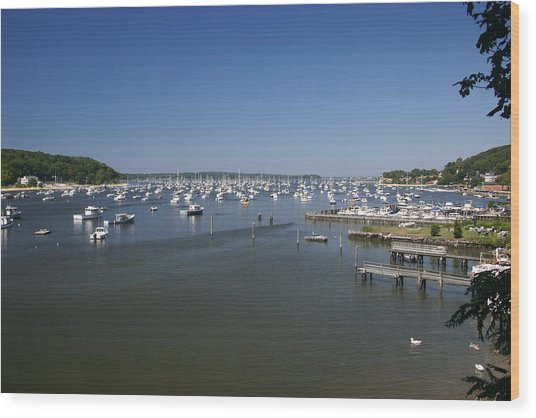 Harbour Wood Print by Dennis Curry