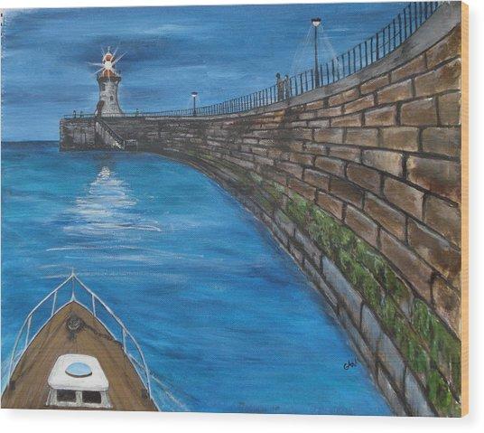 Harbour Light Wood Print by Carol Williams