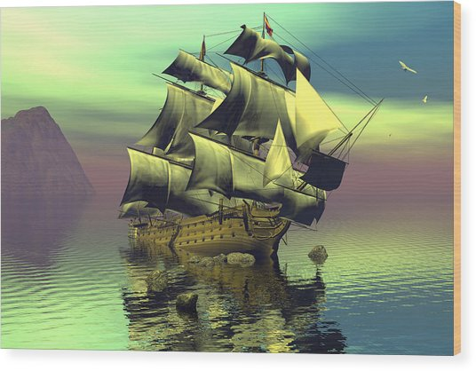 Hard Aground Taking On Water Wood Print by Claude McCoy