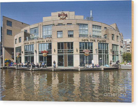 Hard Rock Cafe In Amsterdam Wood Print by Andre Goncalves