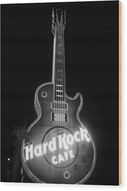 Hard Rock Cafe Sign B-w Wood Print