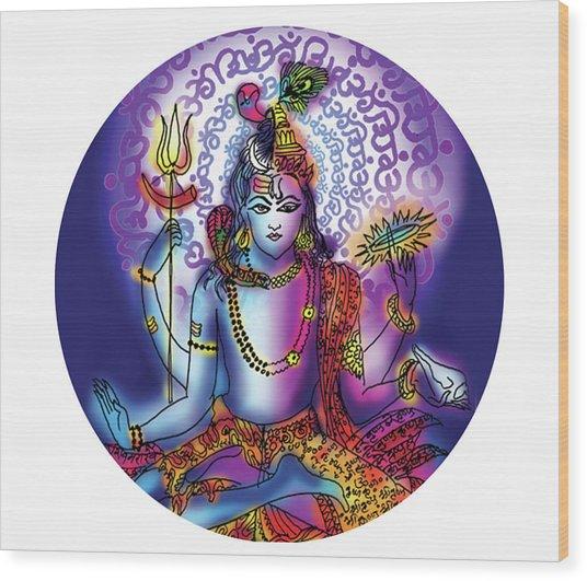Hari Hara Krishna Vishnu Wood Print