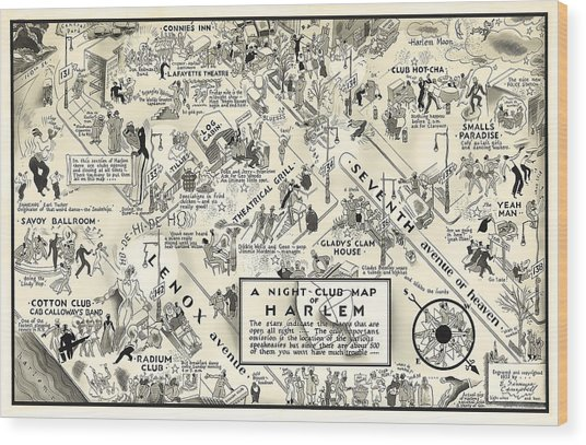 Harlem Prohibition Nightclub Map 1926 Wood Print
