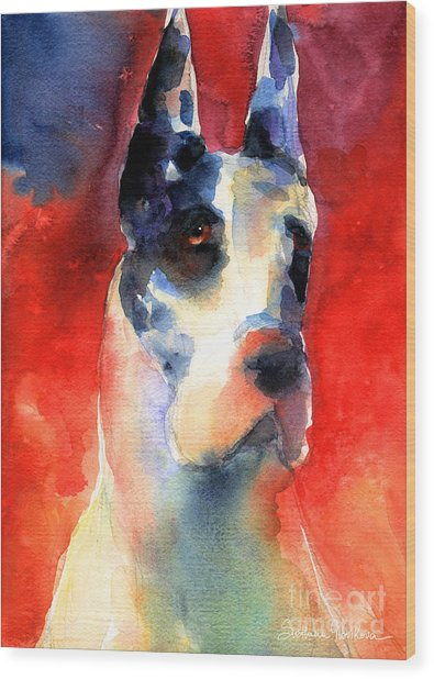 Harlequin Great Dane Watercolor Painting Wood Print